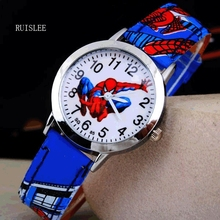 2016 Spider Cartoon Watch Children Kids Wristwatch Boys Clock Child Gift Leather Wrist Watch Quartz Cartoon-watch Quartz-watch(China)