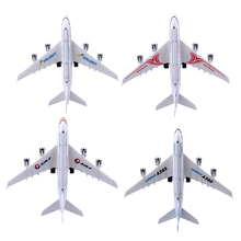 1 Pc New 1:300 Alloy Flashing LED Light Airplane Model Kids Children Passenger Plane Music Educational Toy Best Christmas Gift(China)
