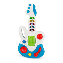 Blue Plastic Baby Children Wisdom Development simulation Guitar Toy Music Kids Gift Toys For Children Baby Fun Playing Drop Ship(China)