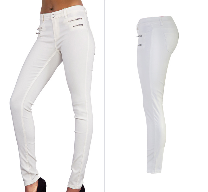 Europe and the United States women's low waist stretch pants feet double zipper PU white coating imitation leather pants large size (2)