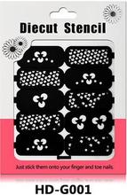 Hot Sales 18 Designs Choice Unique Nail Reusable Pattern Stamp Hollow Nail Art Template Stickers Diecut Stencil Guide Stickers