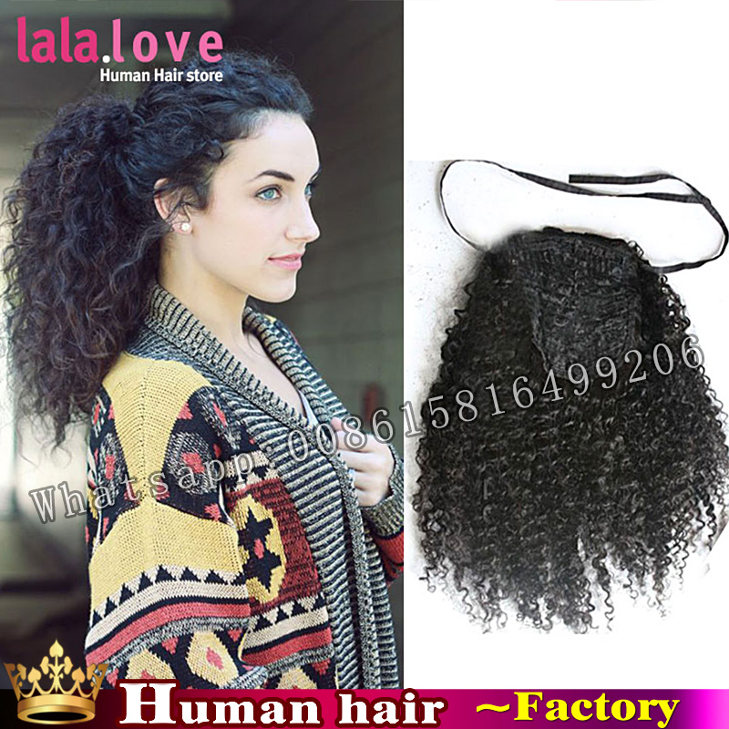 Natural kinky curly ponytail extensions Brazilian hair drawstring ponytail VirginHumanHair afro kinky ponytails wig afro puffs<br><br>Aliexpress