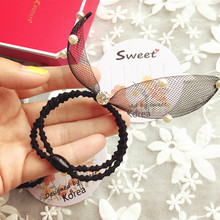 Korea Lace Zircon Pearl Diamond Double Rubber Band Hair Ring Leather Hair Accessories Bunny Rabbit Ears Headband Bow Hair Tie -5