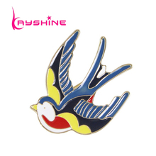 Kayshine New Gold-Color with Red Blue Yellow Enamel Lovely Bird Swallow Brooches for Fashion Lady Accessories