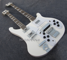 Custom shop,White guitar,Ricken style 4 string and 12 string double neck guitar,Chinese electric guitar
