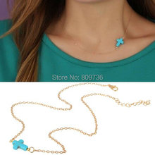 1PC Hot Celebrity Fashion Gold Simple Boho Chain Sideway Stone Cross Pendant Necklace Women Blue Xmas Gift Drop Free