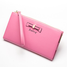 Brand Designer Women Wallet Soft Oil Wax Leather Zipper Ladies Clutch Wallet Big Bow Portable Long Purse Card Holder Phone Bag(China)