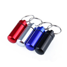 survival camping Edc tool New Mini Waterproof Aluminum Medicine Pill Box Bottle Holder Container Keychain(China)