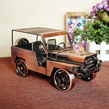 Retro Classic Car Old Fashioned Model Vintage Metal Craft Home Decoration Antique Brass Black Figurines & Miniatures 24*11*13cm