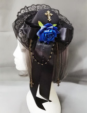 Steampunk Lady Mini Blue Rose Top Hat Lace Fascinator Chain Costume Hair Accessories