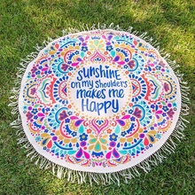 Party 155cm Adult Round 3D Circle Print Large Beach Pool Shower Towel Blanket + Tassel Home Textile