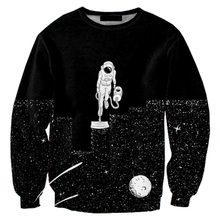 Cloudstyle 2017 3D Sweatshirt Men Space Vacuum Cleaner Cleaning Stars Print Longsleeve Crewneck Fashion Streetwear Pullover Tops