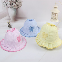 1PCS 2017 New Fashion Infant Visor Sun Hats Caps Soft Cotton Baby Butterfly Pattern Hat #YU999