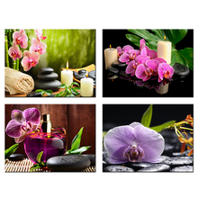 4 Panels Painting Orchid Flowers Zen Garden Essential Oil Canvas HD Picture Home Decor For Bedroom Wall Art Home Decoration(China)