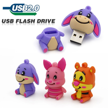 usb flash drive lovely cute animal pen drive donke pig tiger 4GB 8GB 16GB 32GB 64GB silicone U disk creative pendrive usb 2.0(China)