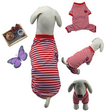 Kawaii Pet Shop Sailor Striped Four-foot Pet Clothes Dog Clothing Pajamas Pet Hoodies Clothes for Dogs Dog clothes for Spring
