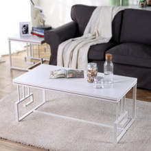 Metal Chinese Iron Long Simple Fashion Large-sized Apartment Living Room Wood Glass Top With Metal Coffee Tea Table