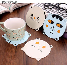 1 Piece Creative Cute Animals Cat Dining Table Placemat Coaster Kitchen Accessories Mat Cup Bar Mug Cartoon Drink Wooden Pads