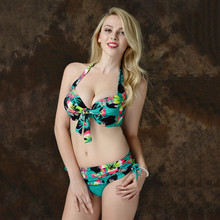 2017 plus size swimwear  women Printing push up Bikini  Bow tie  Hang neck swim suit Beach Big cups Split two pieces 3XL-7XL