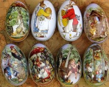 Wholesale 100pcs/lot big size Easter Egg Tin Box mixed pattern wedding candy box Storage case(China)