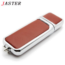JASTER high quality leather usb flash drive fur metal box pendriver 8gb 32gb commercial memory stick 4gb 16gb mini gift gifts