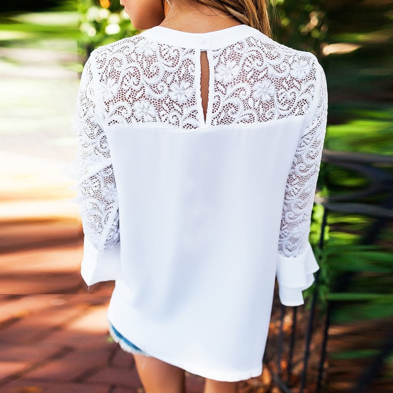 2018 ZANZEA Summer Women Blouse Elegant Lace Shirt O Neck Long Sleeve Patchwork Solid Beach Party Chiffon Shirt Loose Blusas 11