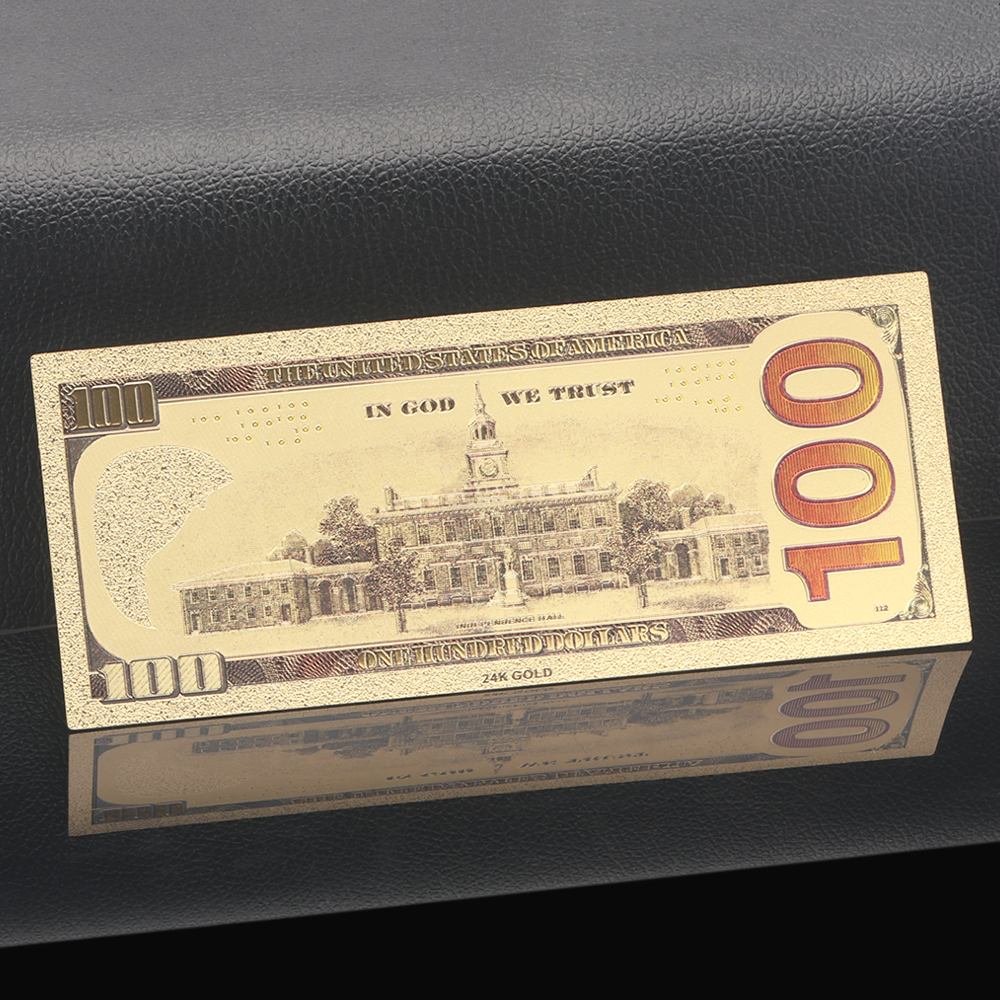 1 Sheet 24K Gold Foil Banknotes $100 Christmas Gifts Home Decor Collection Hot