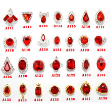 wholesale Nail art decorative materials accessories rhinestone Festive holiday jewelry red Glass gem alloy jewelry(China)