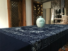 100% Cotton Tablecloth Active Flower Printing Thick Blue Printed Table Clothes for Living Room Desk Protector Pads 150*200cm T40