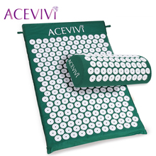 ACEVIVI Body Head Foot Massager Cushion Acupressure Mat Relieve Stress Pain Acupuncture Spike Yoga Mat With Pillow Drop Shipping(China)