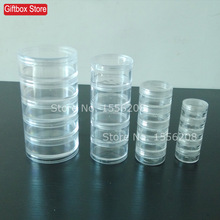 Transparent Plastic Cosmetic Storage Containers Minerals Display Clear Makeup Stackable Small Jar 5 layer(China)