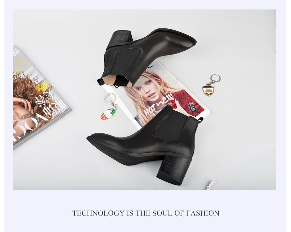 Donna-in 2017 new style genuine leather ankle boots pointed toe thick heel chelsea boots calf leather women boots ladies shoes 96350-17 (19)