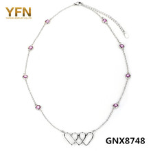 GNX8748 Genuine 925 Sterling Silver Heart Necklace Pink Cubic Zirconia Station Necklace Fashion Jewelry For Women