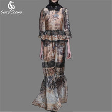 Swan printing dress 2017 Spring Summer women European catwalk khaki lace stitching Three Quarter sleeves long floor dresses