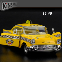 New KiNSMART 1/40 Scale Car Toys 1957 Chevrolet Bel Air Taxi Diecast Metal Pull Back Car Model Toy For Gift/Kids/Collection