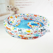 132cm*28cm Plastic Inflatable Swim ring Beach ball Drain holes at the bottom Cute cartoon fish pattern child baby swimming pool(China)