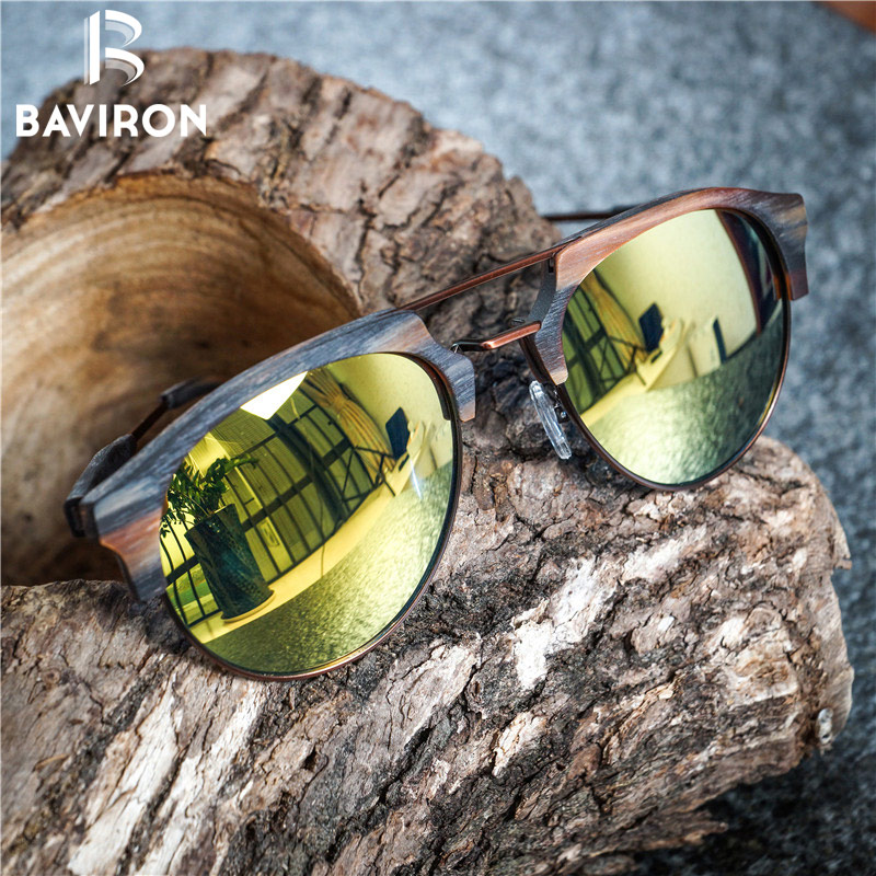 BAVIRON Tide Brand Wooden Sunglasses Unisex Retro Trend Sun Glasses Metal Anti-UV400  Polarized Sunglasses Fashion Eyewear 15144