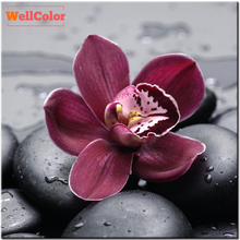 WELLCOLOR Full crystal Patterns orchid flower on stone 5d Diy Diamond Painting embroidered 3D round Mazayka Diamond embroidery