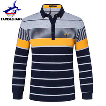 Tace & Shark High Quality 2017 Autumn Brand Cotton Mens Long Sleeve polo pullover Striped Business style Sweater(China)