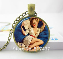 Well Hello Sailor Pinup Girl Necklace Sailor Pinup Jewelry with sexy girl Pinup Girl Art Pendant PIRATE GIRL