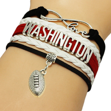 Infinity Love Washington Baseball Team Bracelets Leather Suede Rope Charm Customize Friendship Wristband Women Bangle