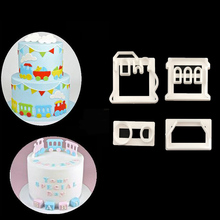 4PC/SET Train Shape Cutter Plastic Cake Decorating Mold Sugarcraft Mold Cookie Cutting P072(China)