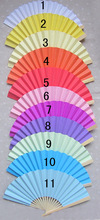 DHL Free shipping 60pcs Chinese Bamboo Hand Fans Wedding paper fan  Bridal Accessories Party Gift different 11 colors