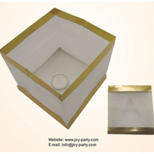50pcs/lot 15*15*15cm white with gold board square floating water box paper lantern ceremony party event decoration(China)
