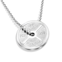 Cjdropship Rock Style Men's High Relief Weight Plate Necklace in Titanium Steel Free Chain - Silver, Gold Free Shipping