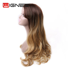 26 Inch Long Wavy Curly Brown Blonde Ombre Synthetic Wigs With Bangs Skin Top Non Lace Wig Pelucas Cosplay For Black Women