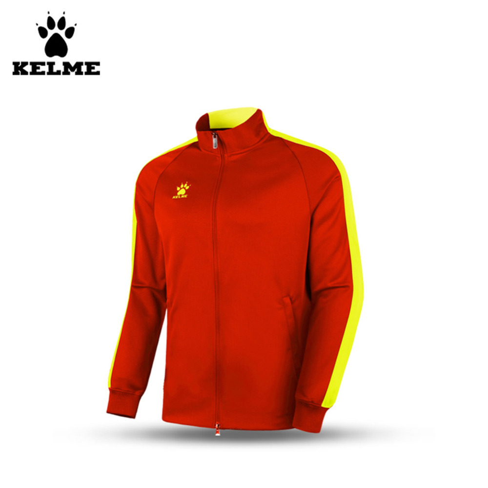 Kelme K15ZK78 Kids Spring And Autumn Long Sleeve Stand Collar Zipper Training Knit Jackets Orange Yellow<br><br>Aliexpress