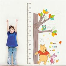 Children Height Measurement Growth Chart Tree Winnie The Pooh Owl Wall Stickers Parlor Kids Bedroom Home Decor Mural Decal(China)