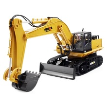 Huina 1510 RC Excavator Car 2.4G 11CH Metal Remote Control Engineering Digger Truck Model Electronic Heavy Machinery Toy(China)