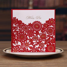 10Pcs/lot 15*15cm Wedding Invitations Elegant Card Creative Hollow Laser Cut Wedding Invitation Favor Custom with Envelope(China)